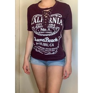 California Lace Up Top
